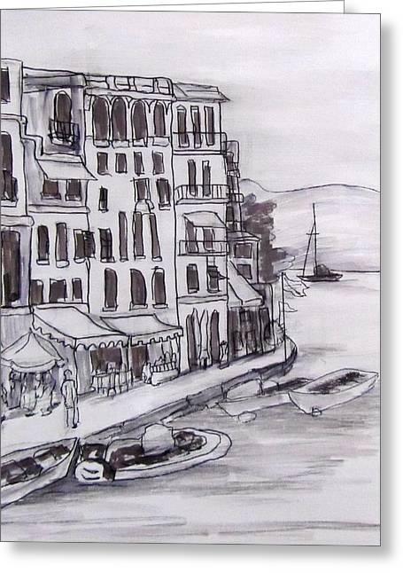 Portofino Value Study Greeting Card by Barbara O'Toole