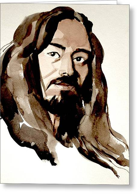 Watercolor Portrait Of A Man With Long Hair Greeting Card