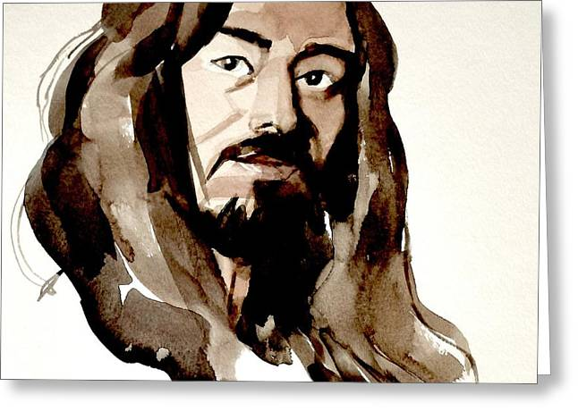 Watercolor Portrait Of A Man With Long Hair Greeting Card by Greta Corens