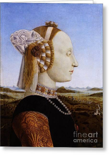 Portraif Of Battista Sforza Duchess Of Urbino Greeting Card
