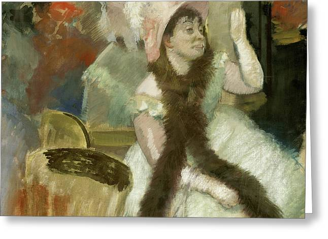 Portrait After A Costume Ball Greeting Card by Edgar Degas
