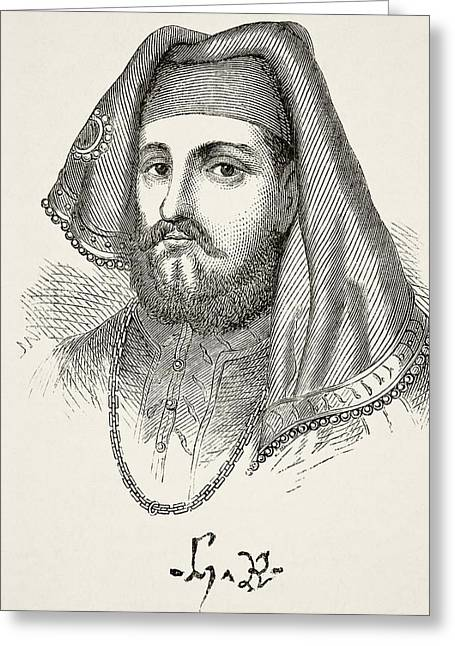 Portrait And Autograph Of King Henry Iv Greeting Card by Vintage Design Pics
