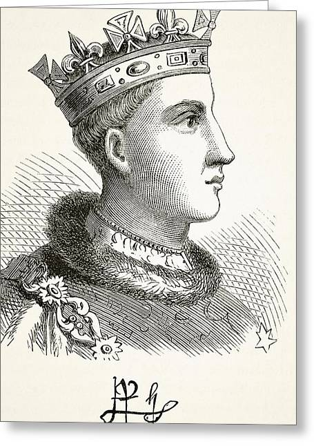 Portrait And Autograph Of King Henry V Greeting Card by Vintage Design Pics