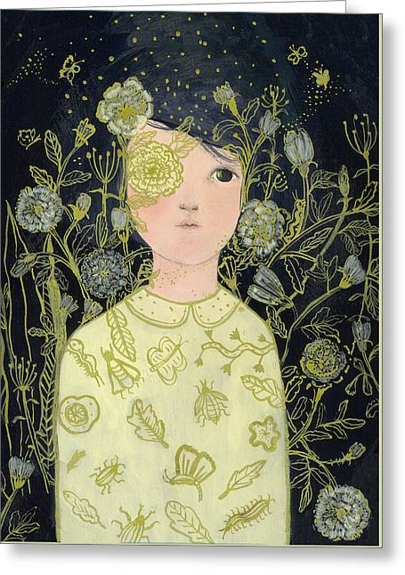 Portrait At Night Greeting Card by Paola Zakimi