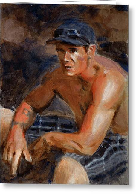 Portrait Demo Greeting Card by Christopher Reid