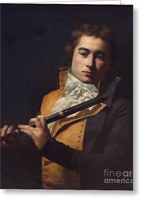 Portrait Flutist Francois Devienne Greeting Card by Celestial Images