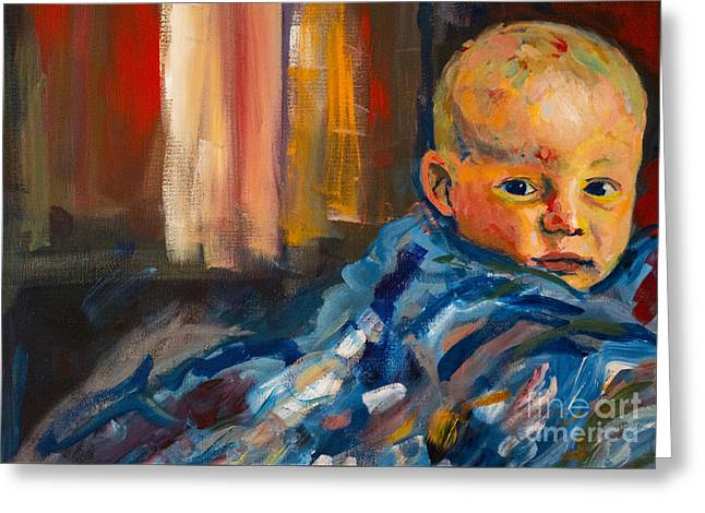 Greeting Card featuring the painting Portrait For A Mother by Angelique Bowman