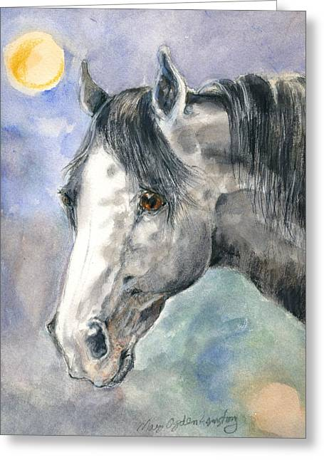 Greeting Card featuring the painting portrait Gray II by Mary Armstrong