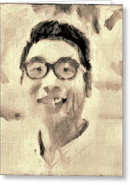 Portrait In Brown Sepia On Canvas In Oil Just The Underpainting Greeting Card by MendyZ