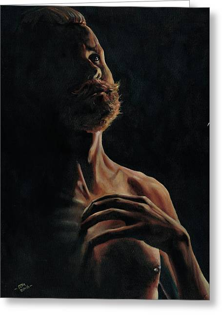 Portrait In Contemplation Greeting Card by Richard Mountford