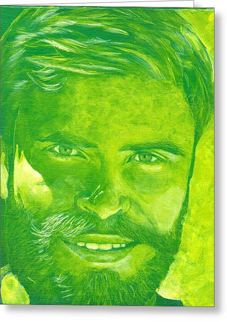 Portrait In Green Greeting Card