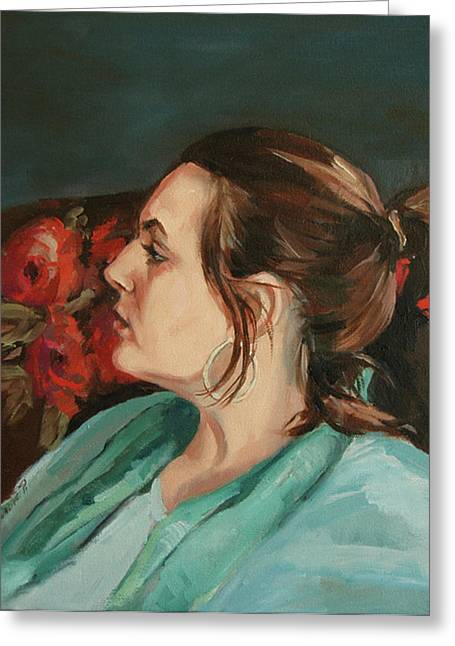 Portrait In Profile Greeting Card