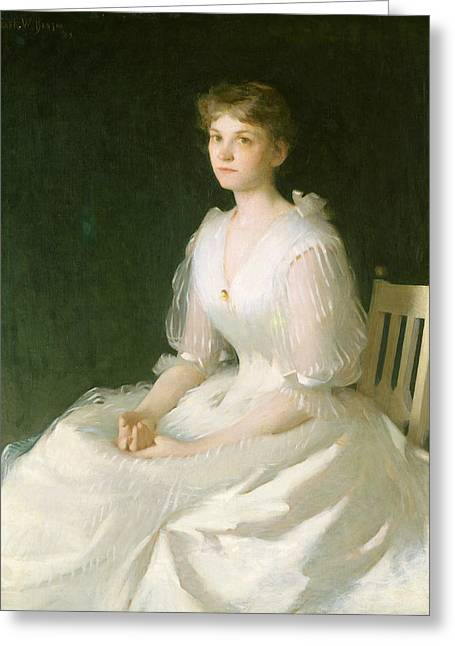 Portrait In White Greeting Card by Frank Weston Benson