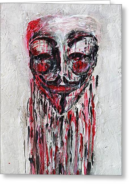 Recently Sold -  - Occupy Greeting Cards - Portrait Melting of Anonymous Mask chan wikileak occupy guy fawkes sopa mpaa pirate lulz reddit Greeting Card by M Zimmerman MendyZ