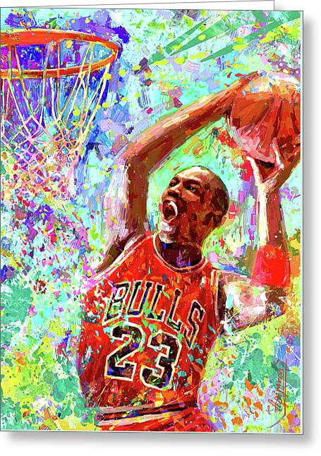 Portrait Michael Jordan Dream Greeting Card by Ilia Adiiakov