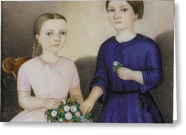 Portrait Miniature Of A Girl In Pink And A Boy Greeting Card