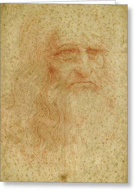 Portrait Of A Bearded Man, Possibly A Self Portrait Greeting Card by Leonardo da Vinci