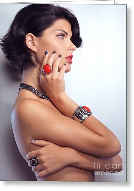 Portrait Of A Beautiful Woman Wearing Jewellery Greeting Card by Oleksiy Maksymenko