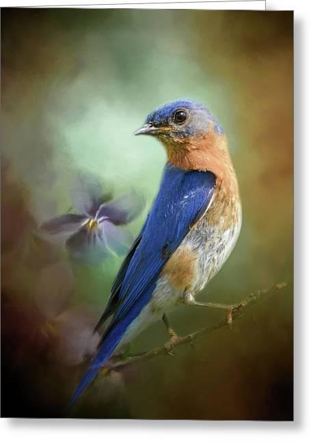 Portrait Of A Bluebird Greeting Card
