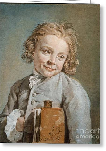 Portrait Of A Boy Holding Greeting Card by MotionAge Designs