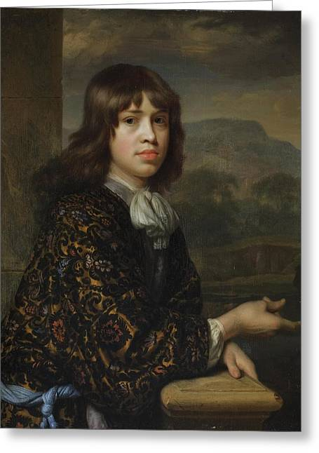 Portrait Of A Boy In A Gold Greeting Card by Godfried Schalcken