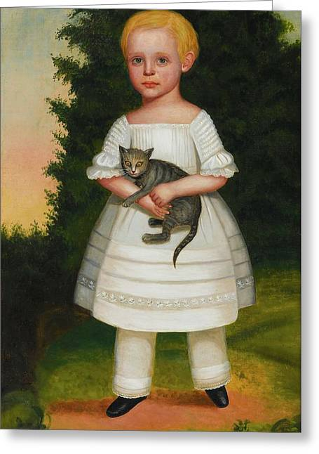 Portrait Of A Boy In A White Dress With Pantaloons Greeting Card