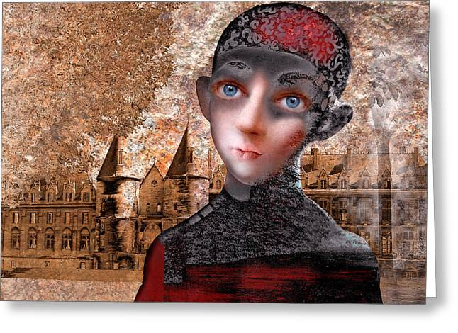 Portrait Of A Boy With A Castle In The Background. Greeting Card by Ilir Pojani