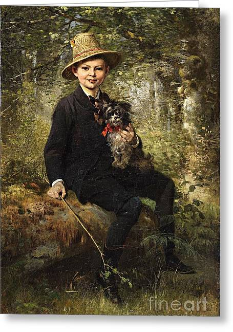 Portrait Of A Boy With A Dog In A Forest. Greeting Card by Celestial Images
