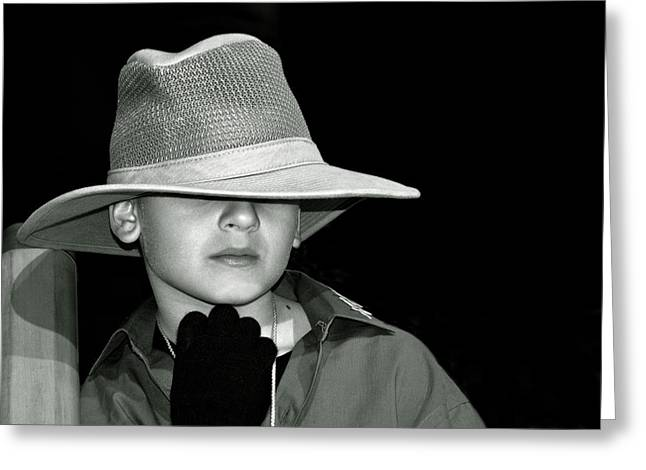Portrait Of A Boy With A Hat Greeting Card