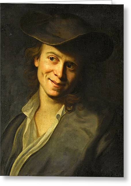 Portrait Of A Boy With Long Hair Half-length Wearing A Brown Hat Greeting Card by Christian Seybold