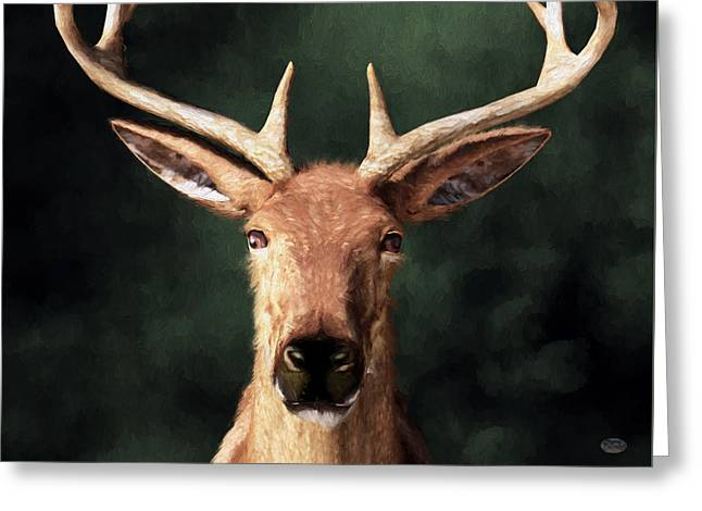 Greeting Card featuring the digital art Portrait Of A Buck by Daniel Eskridge