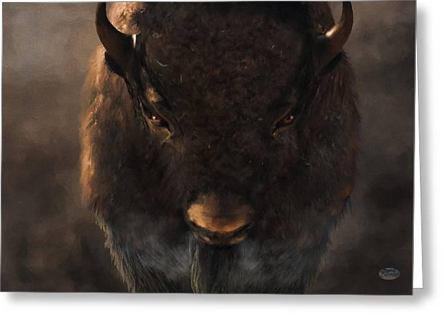Portrait Of A Buffalo Greeting Card by Daniel Eskridge