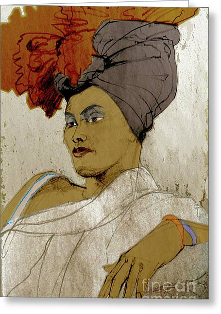 Portrait Of A Caribbean Beauty Greeting Card