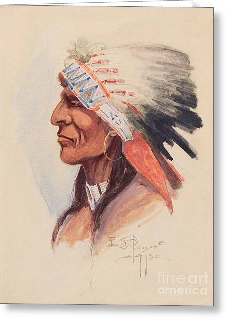 Portrait Of A Chief Greeting Card by Celestial Images