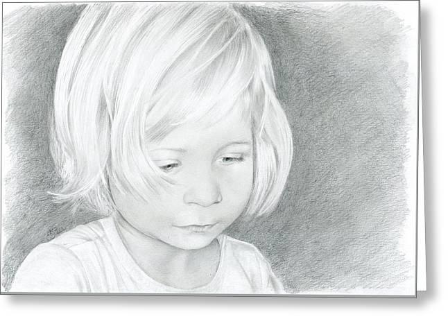 Portrait Of A Child 2 Greeting Card by Bitten Kari