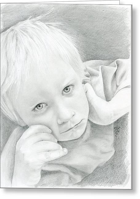 Portrait Of A Child Greeting Card by Bitten Kari