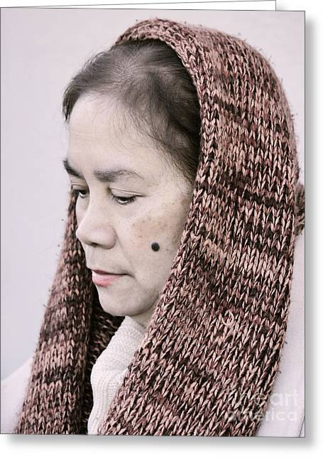 Portrait Of A Filipina With A Mole On Her Cheek And Wearing A Knitted Scarf  Greeting Card by Jim Fitzpatrick