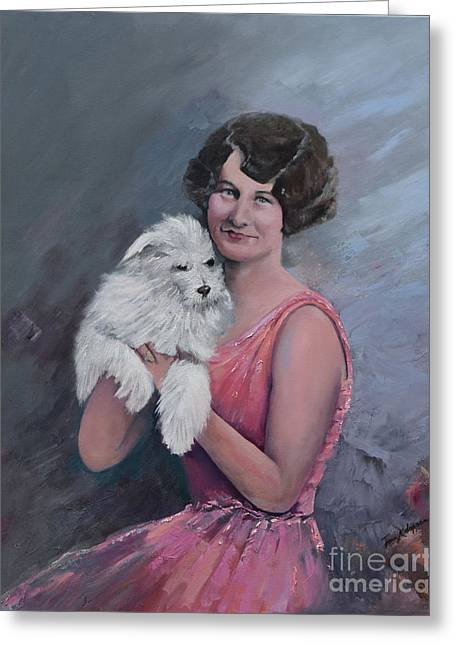 Maggie And Caruso -portrait Of A Flapper Girl Greeting Card