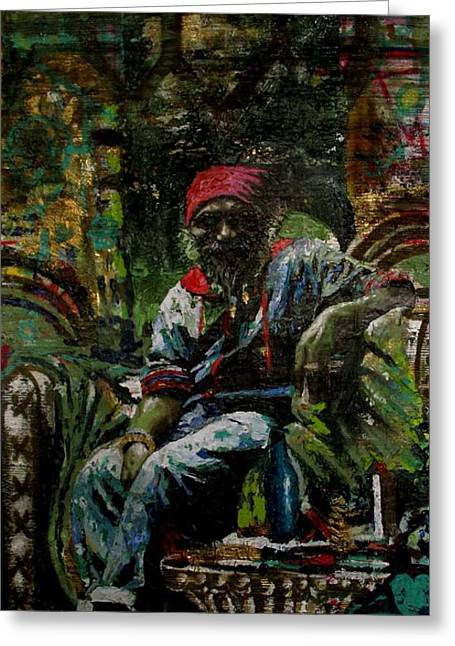 Etc. Paintings Greeting Cards - Portrait of a friend Greeting Card by Samuel Miller
