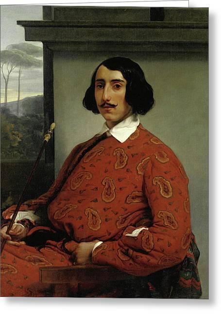 Portrait Of A Gentleman. Duke Manolo Nunez Falco Greeting Card by Francesco Hayez