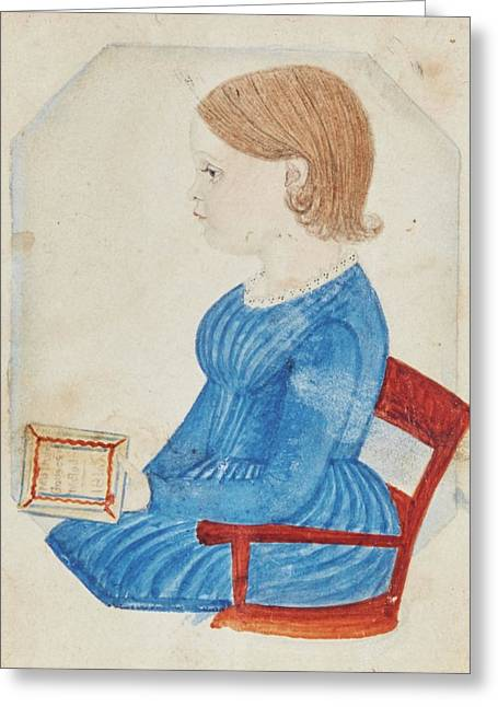 Portrait Of A Girl In A Blue Dress Greeting Card
