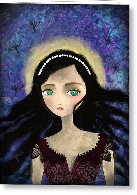 Portrait Of A Girl In A Forest During The Full Moon Greeting Card