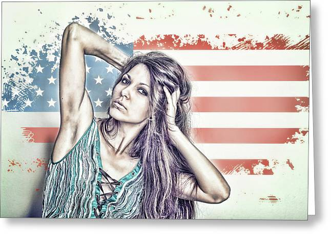 Portrait Of A Girl On The Background Of A Stylized Usa Map Greeting Card