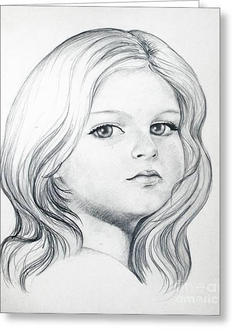 Portrait Of A Girl Greeting Card by Stoyanka Ivanova