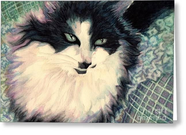 Portrait Of A Green Eyed Cat Greeting Card by Janine Riley