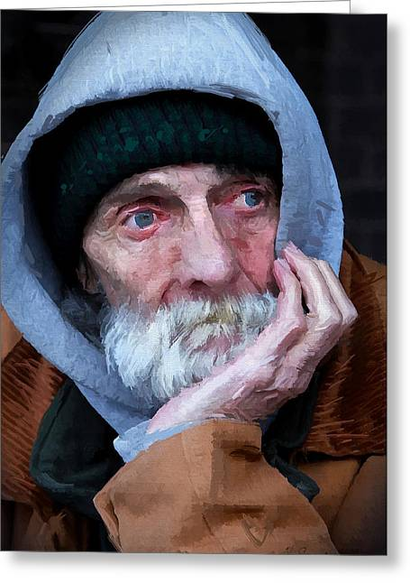 Portrait Of A Homeless Man Greeting Card