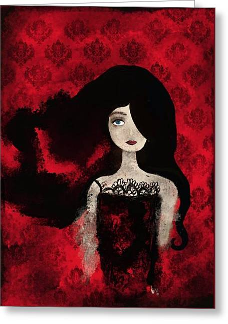 Portrait Of A Lady Amidst A Red Damask Background Greeting Card