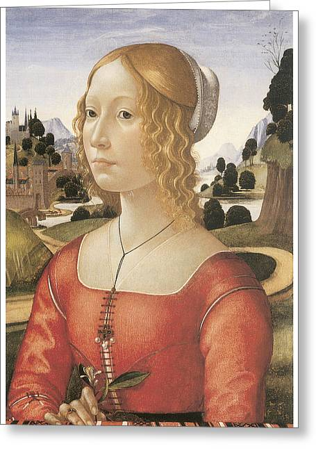 Portrait Of A Lady Greeting Card by Domenico Ghirlandaio