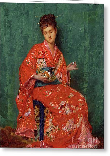 Portrait Of A Lady Greeting Card by Emile Villa