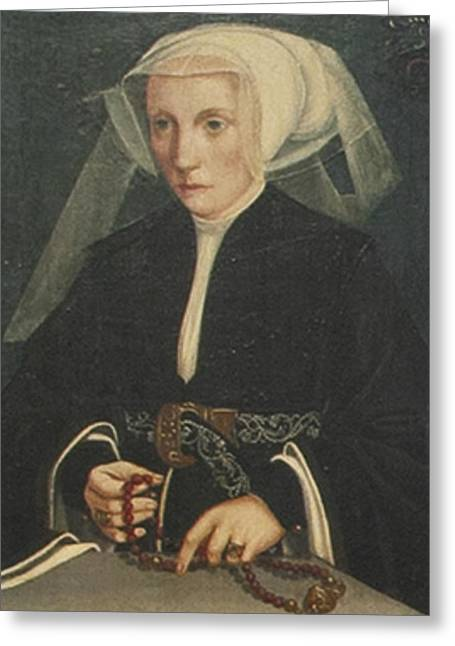 Portrait Of A Lady Holding Greeting Card